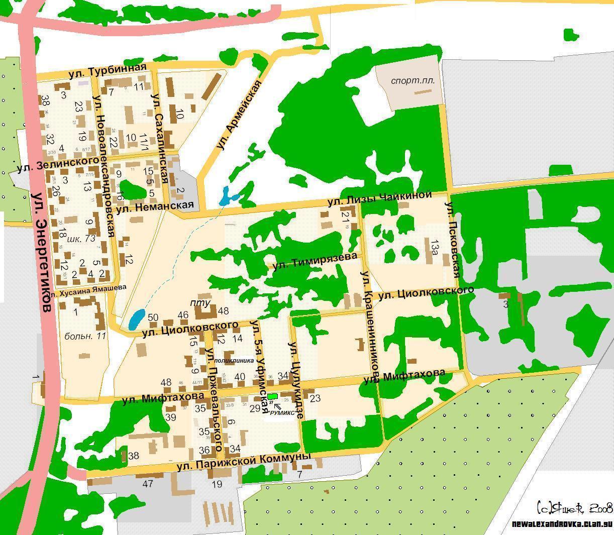 Новоалександровка - карта поселка